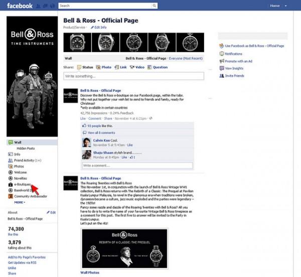 bell ross ouvre sa boutique en ligne sur facebook. Black Bedroom Furniture Sets. Home Design Ideas