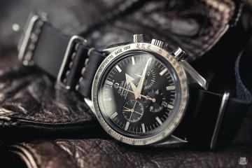 Omega Speedmasster Broad Arrow - Bracelet Nato cuir noir