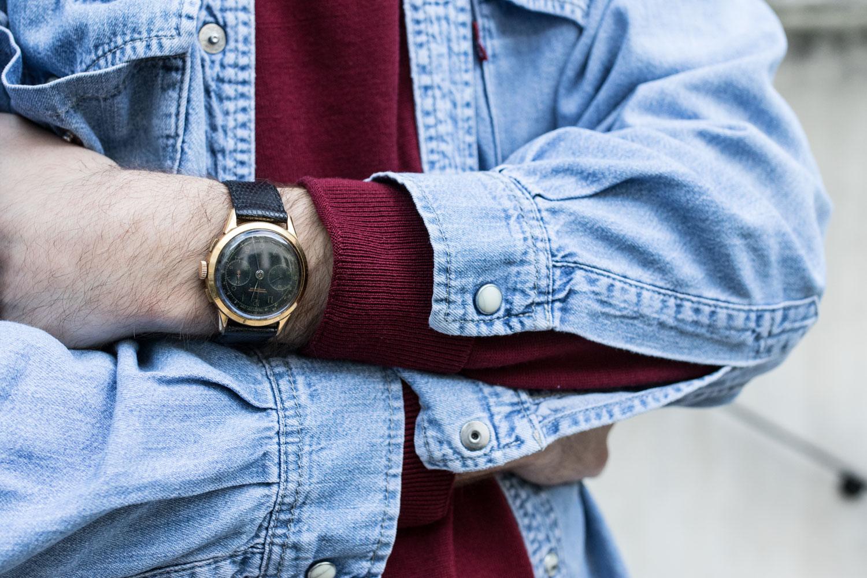 Chemise en jean / Col Roulé - Montre chronographe suisse