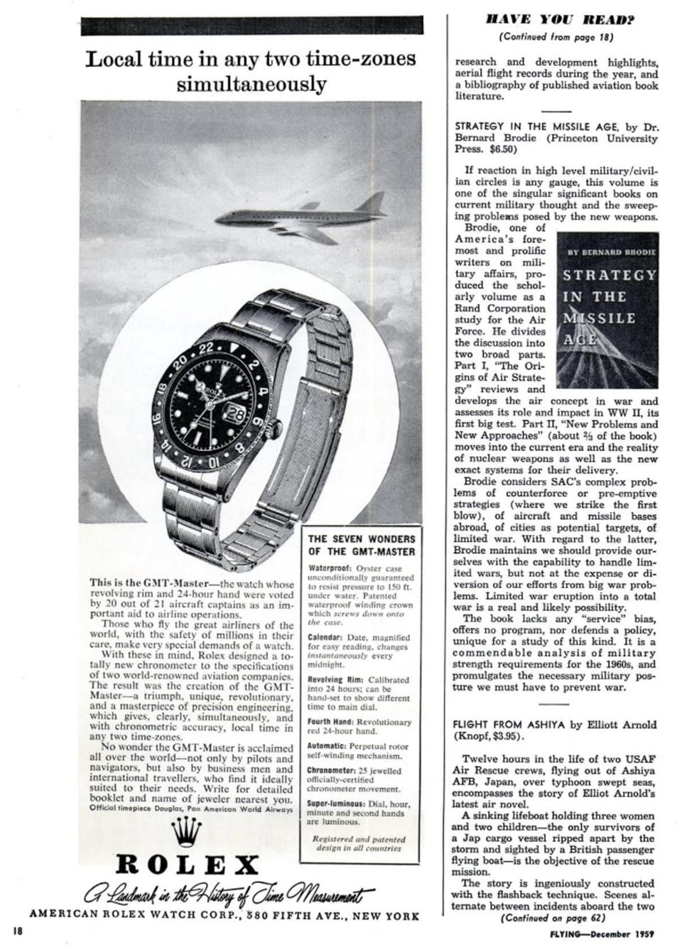 Publicité pour la Rolex Gmt-Master du magasine Flying de décembre 1959