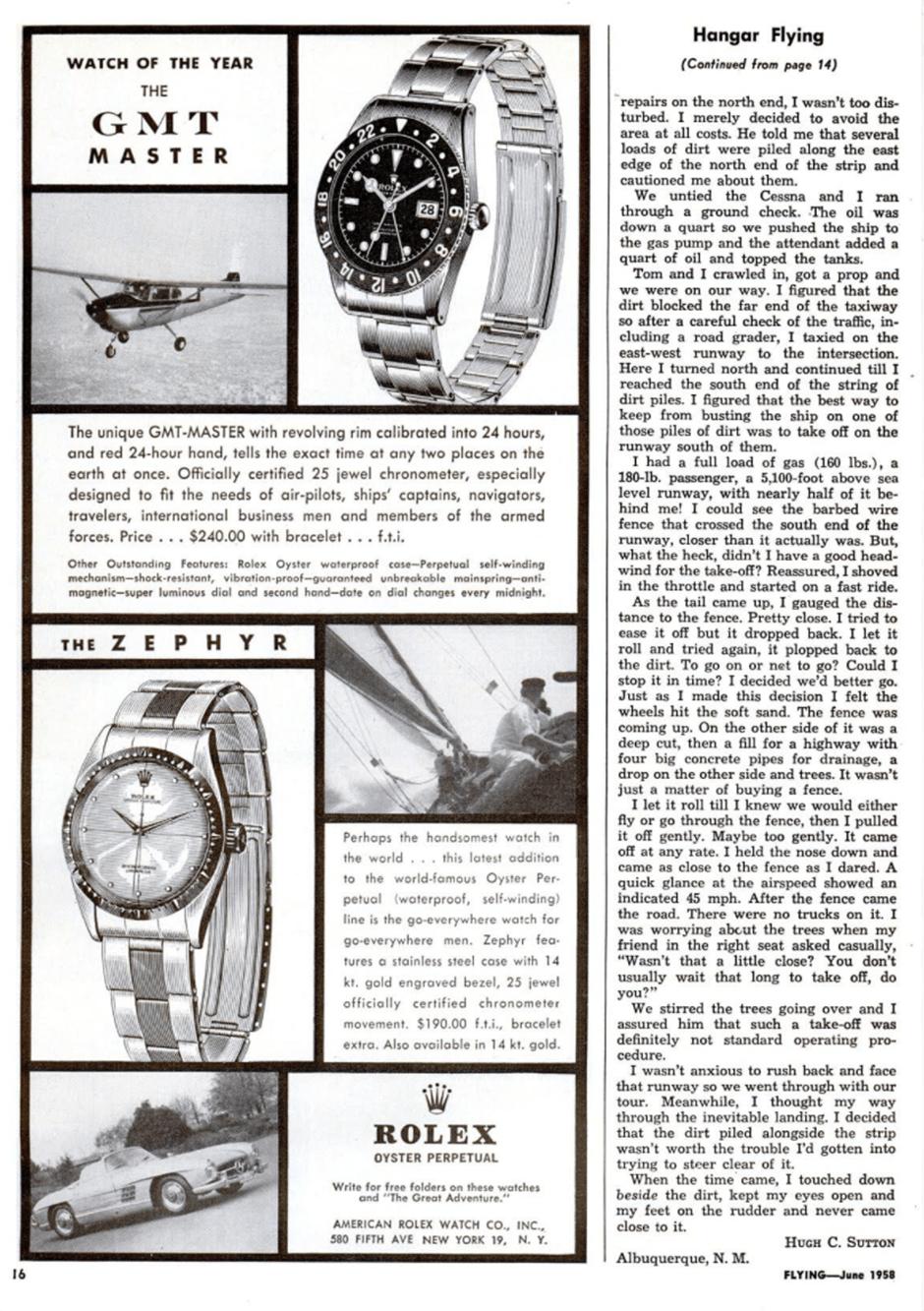 Publicité pour la Rolex Gmt-Master du magasine Flying de Juin 1958