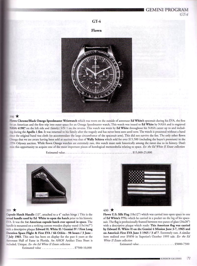 Catalogue de vente aux enchères datant de 1999 présentant la Speedmaster d'Ed White