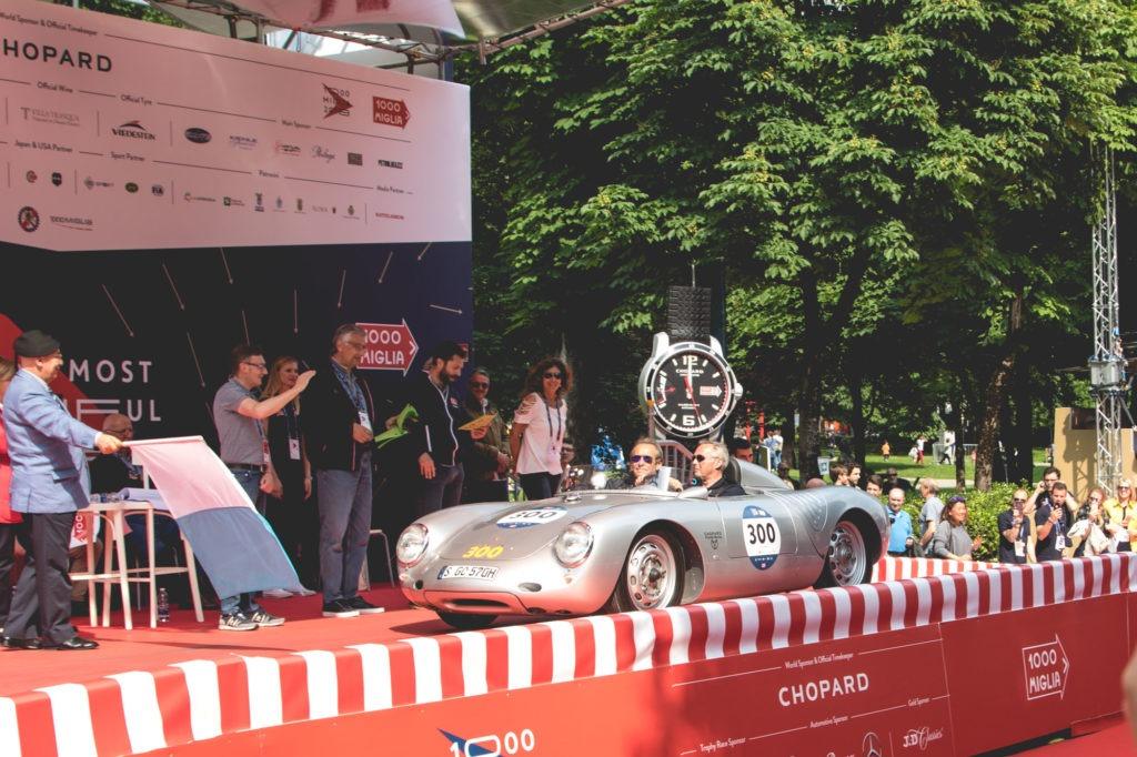 Mille Miglia - Départ de Karl-Friedrich Scheufele et Jacky Ickx