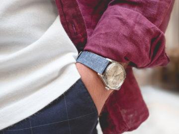 Joseph Bonnie - Bracelet cuir de veau et lin bleu clair