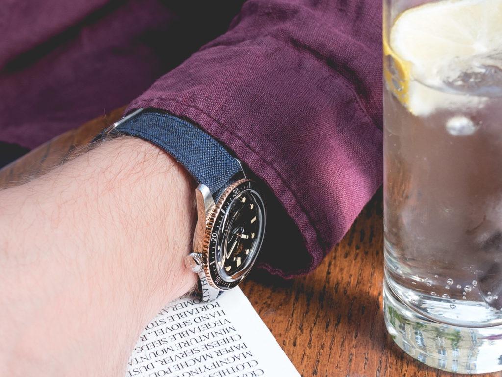 Joseph Bonnie - Bracelet cuir de veau et lin bleu foncé