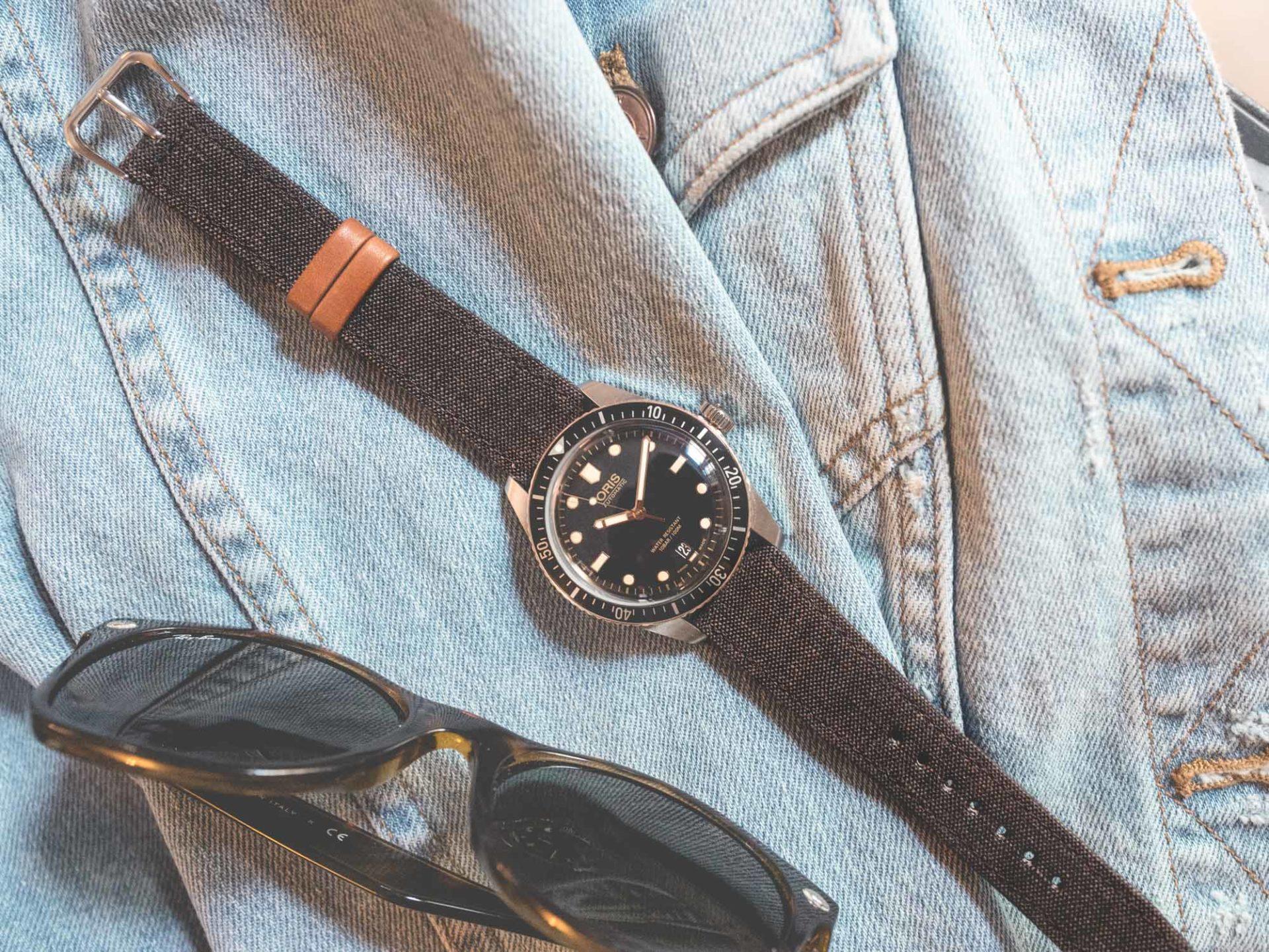 """Joseph Bonnie - Bracelet cuir de veau et lin marron foncé """"Antique Brown"""""""