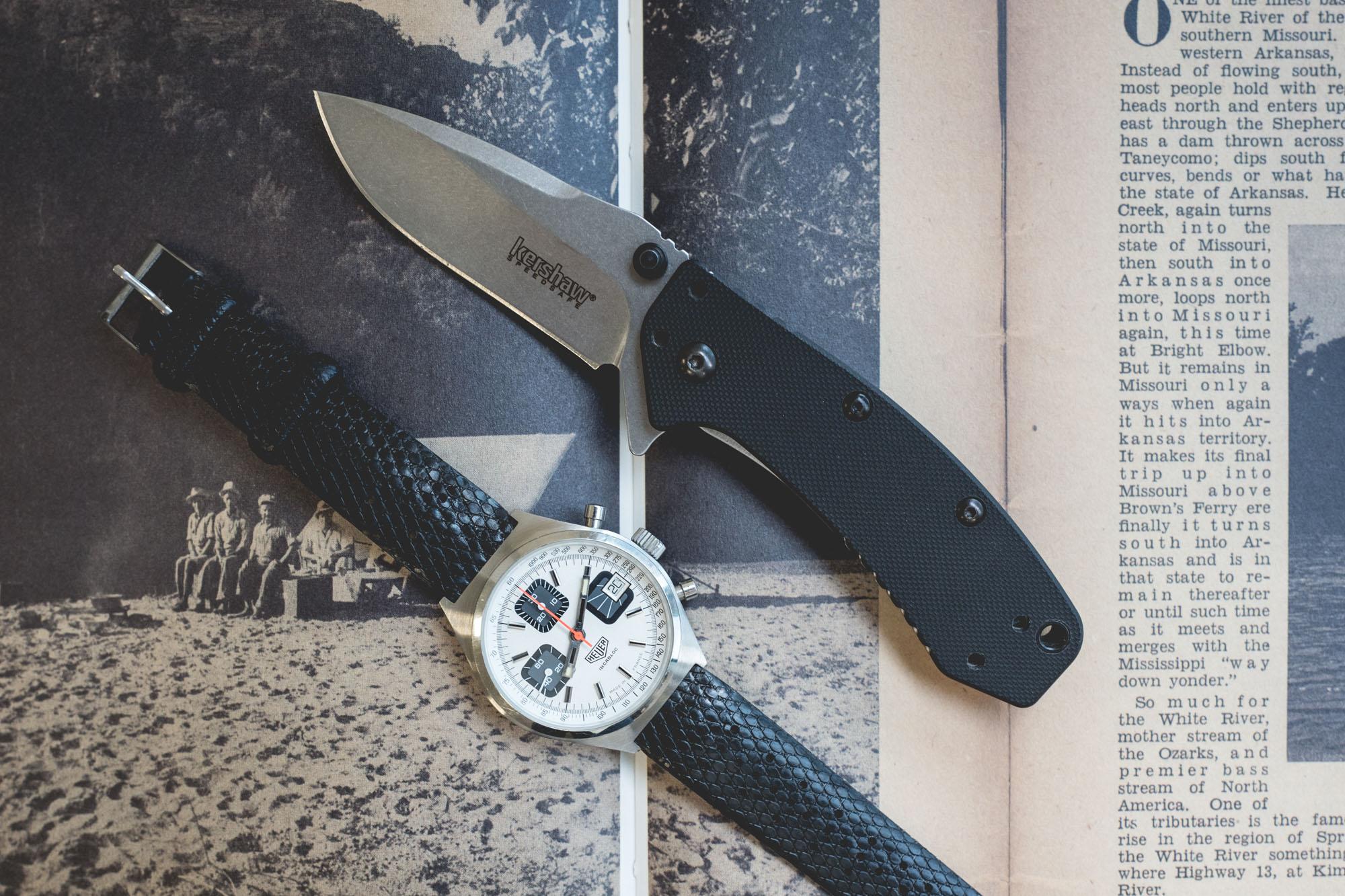 Chronographe Heuer et couteau pliant Kershaw Cryo en acier et G10