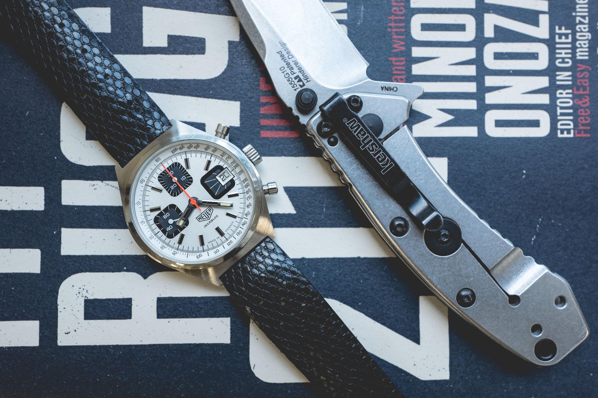 Chronographe Heuer et couteau pliant Kershaw en acier et G10