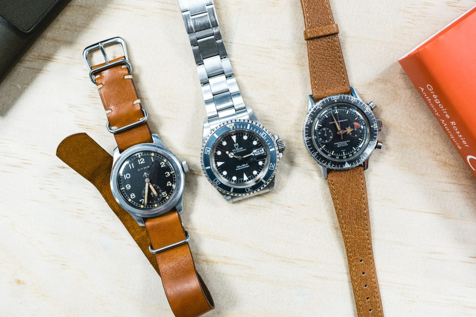Collection de 3 Montres : Cyma Military, Tudor Submariner, Nivada Chronomaster
