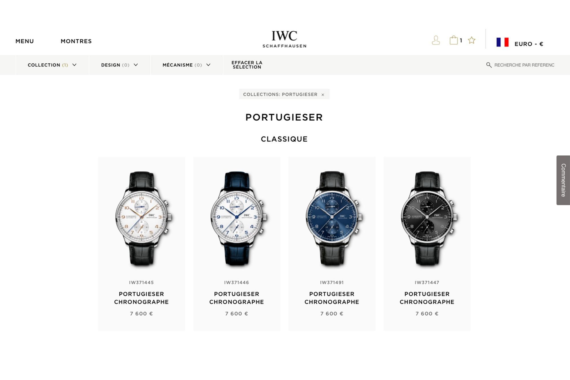 Site E-commerce IWC France
