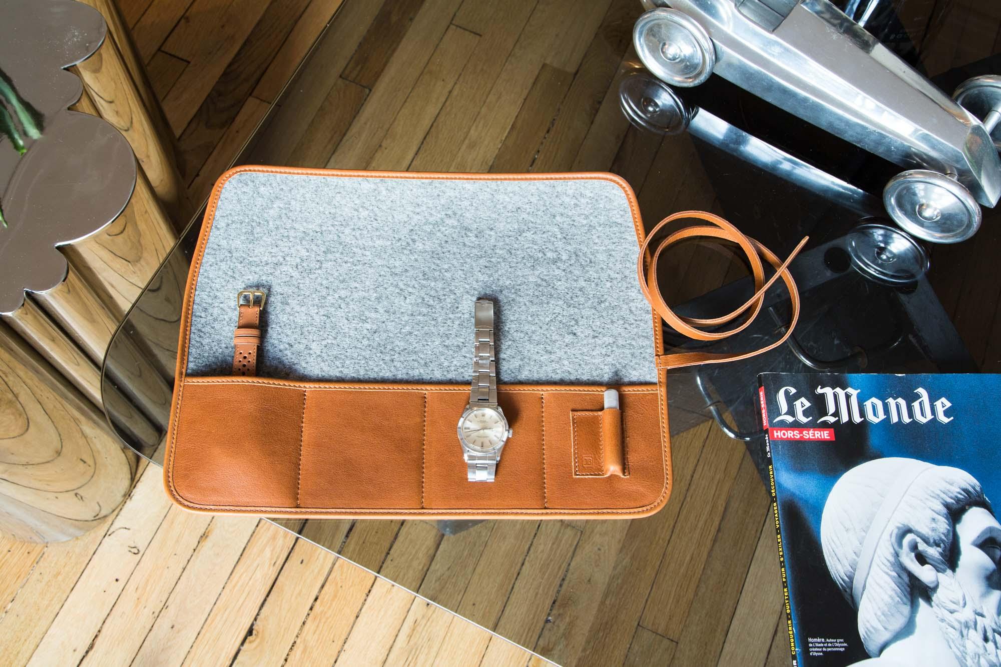 Marmotte - Pochette de transport pour montres en cuir marron
