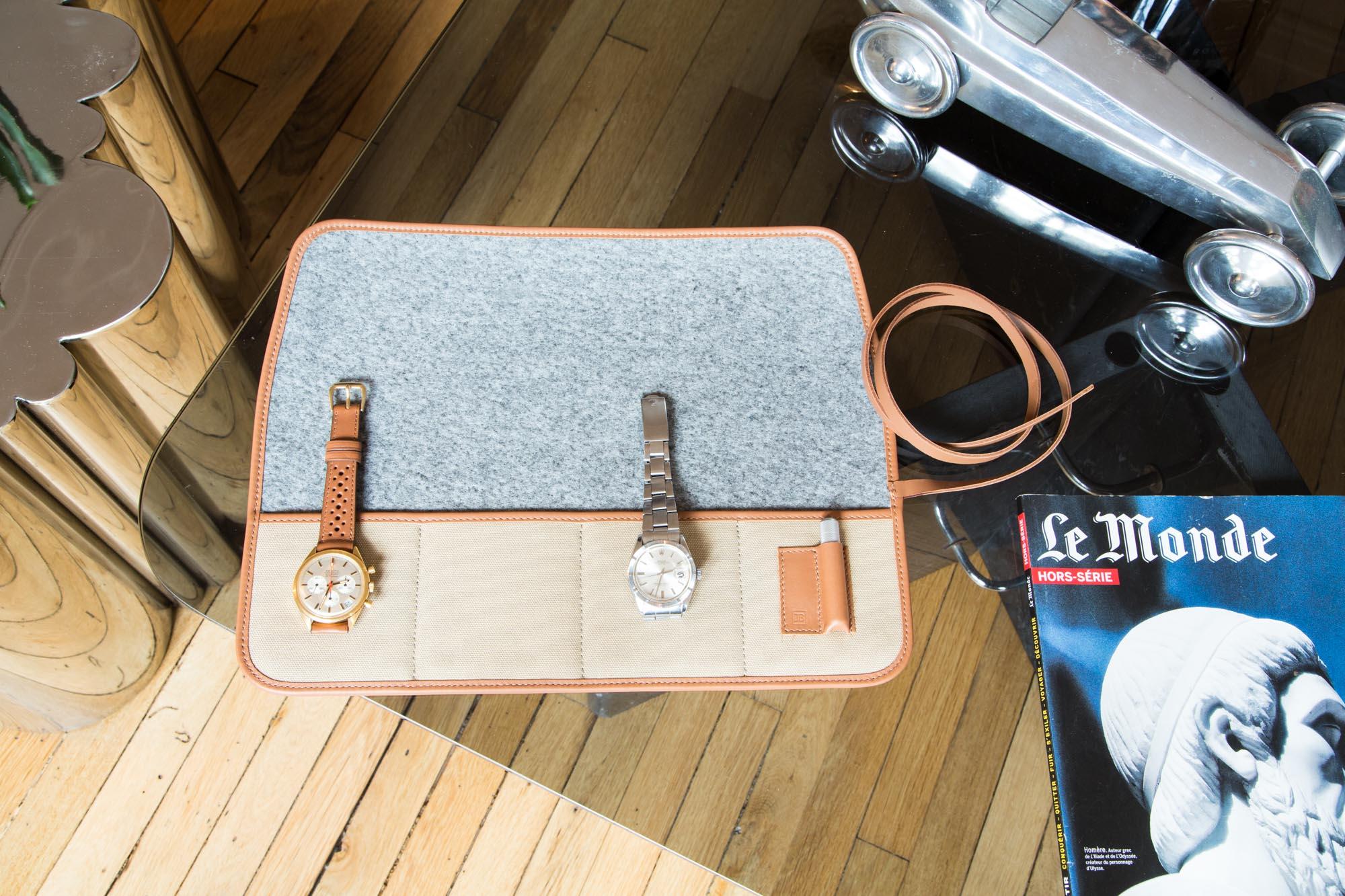 Marmotte - Pochette de transport pour montres en toile canevas sable