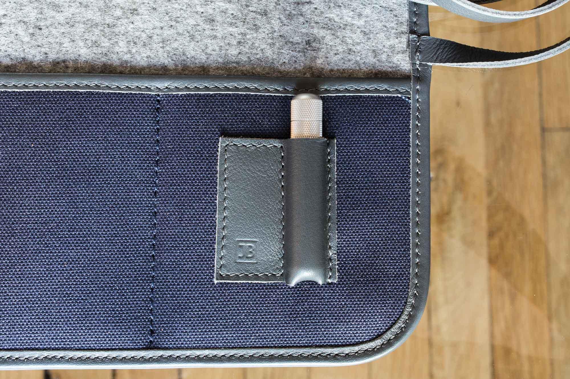 Marmotte - Pochette de transport pour montres en toile canevas bleue
