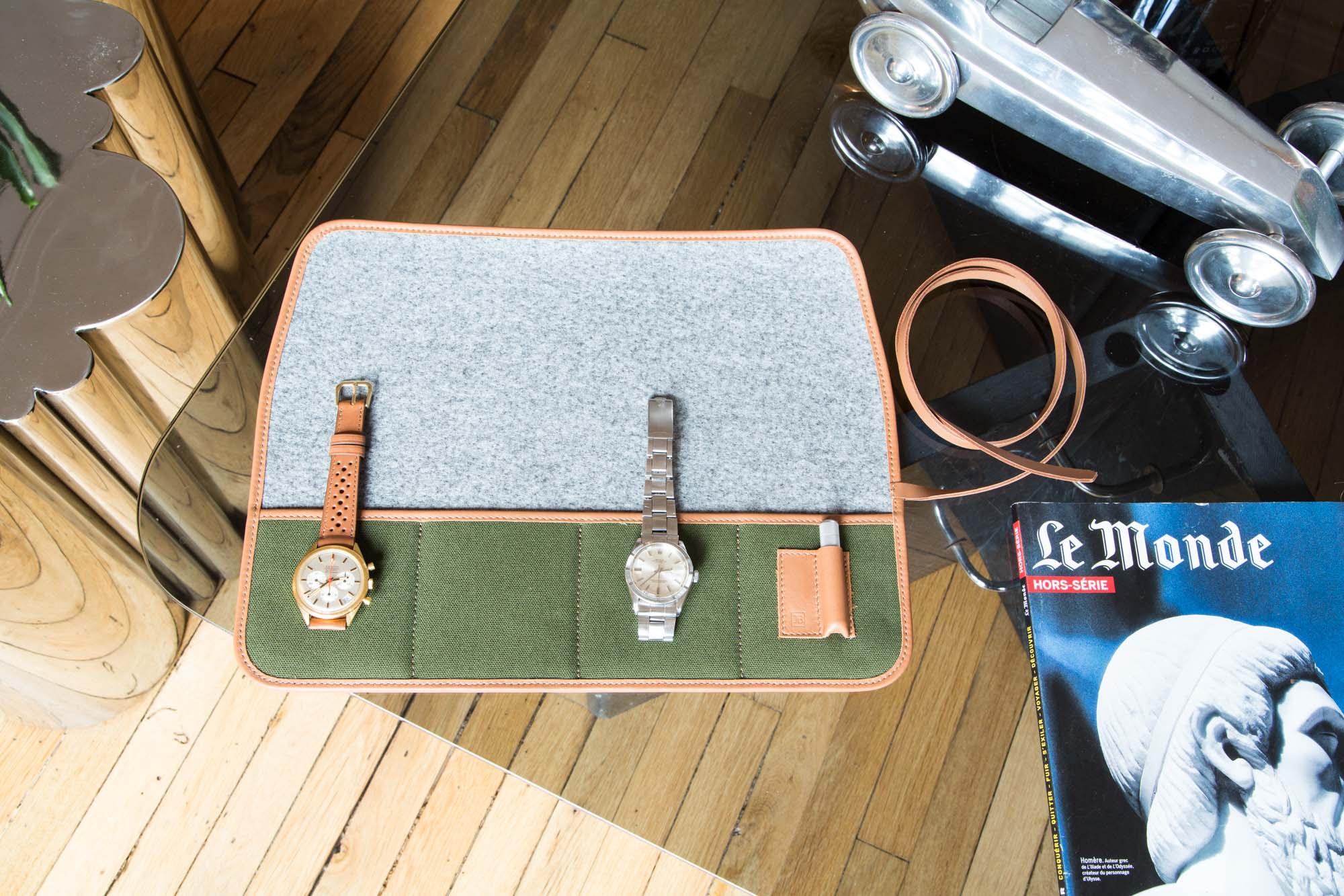 Marmotte - Pochette de transport pour montres en toile canevas vert forêt