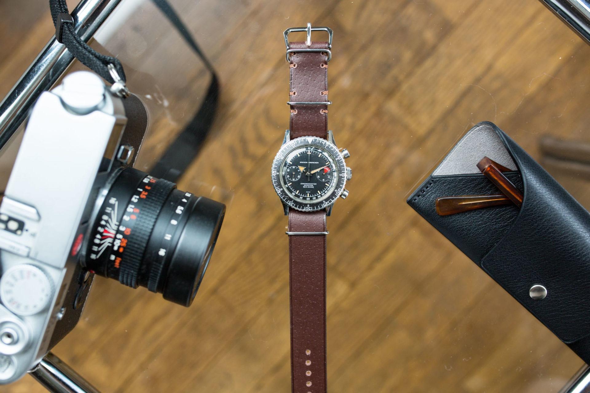 Joseph Bonnie - Bracelet de Montre Nato en cuir vintage des Tanneries Gal - Couleur Chocolat